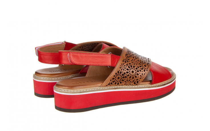 Sandały bayla-161 105 2014 coconut red 161212, czerwony/ brąz, skóra naturalna  - skórzane - sandały - buty damskie - kobieta 3