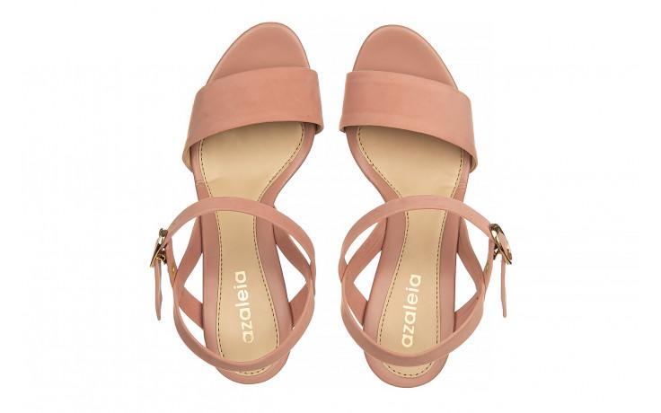 Sandały azaleia 680 242 suede old pink, róż, materiał  - koturny - buty damskie - kobieta 4