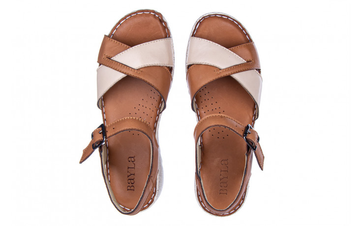 Sandały bayla-161 016 981 beige coconut 161197, brąz/ beż, skóra naturalna  - bayla - nasze marki 4