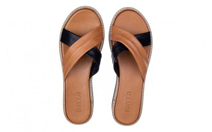 Klapki bayla-161 105 6004 black tan 161214, czarny/ brąz, skóra naturalna  - klapki - buty damskie - kobieta 4