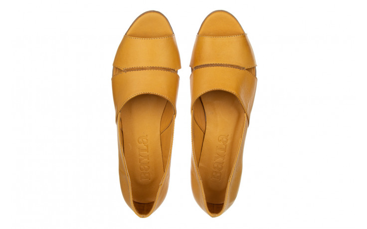 Baleriny bayla-161 138 80123 noce 161225, żółty, skóra naturalna  - skórzane - baleriny - buty damskie - kobieta 4
