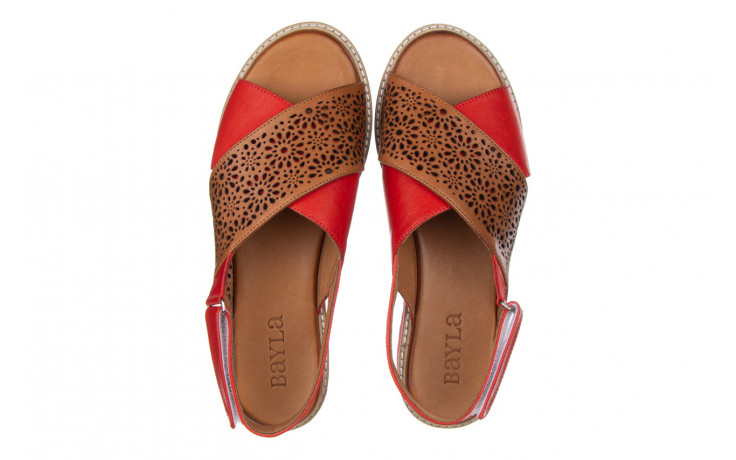 Sandały bayla-161 105 2014 coconut red 161212, czerwony/ brąz, skóra naturalna  - skórzane - sandały - buty damskie - kobieta 4