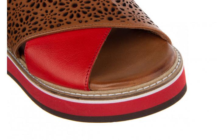 Sandały bayla-161 105 2014 coconut red 161212, czerwony/ brąz, skóra naturalna  - skórzane - sandały - buty damskie - kobieta 5