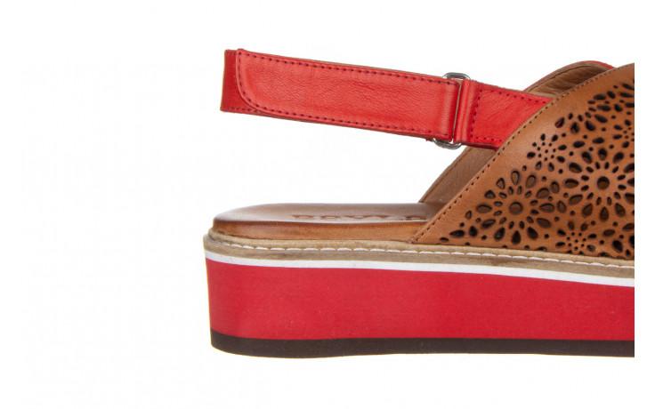 Sandały bayla-161 105 2014 coconut red 161212, czerwony/ brąz, skóra naturalna  - skórzane - sandały - buty damskie - kobieta 6
