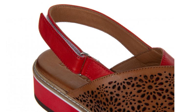 Sandały bayla-161 105 2014 coconut red 161212, czerwony/ brąz, skóra naturalna  - skórzane - sandały - buty damskie - kobieta 7