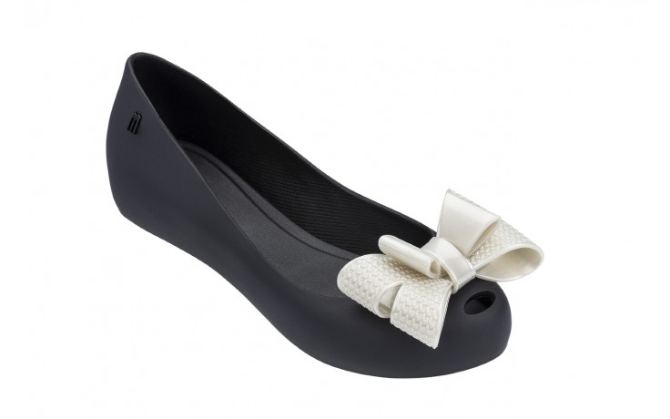 Baleriny melissa ultragirl sweet xv ad black white metalized, czarny/biały, guma - melissa - nasze marki 1