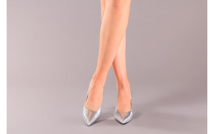 Czółenka bayla-056 9117-1103 srebrny 056518, skóra naturalna  - skórzane - czółenka - buty damskie - kobieta 2