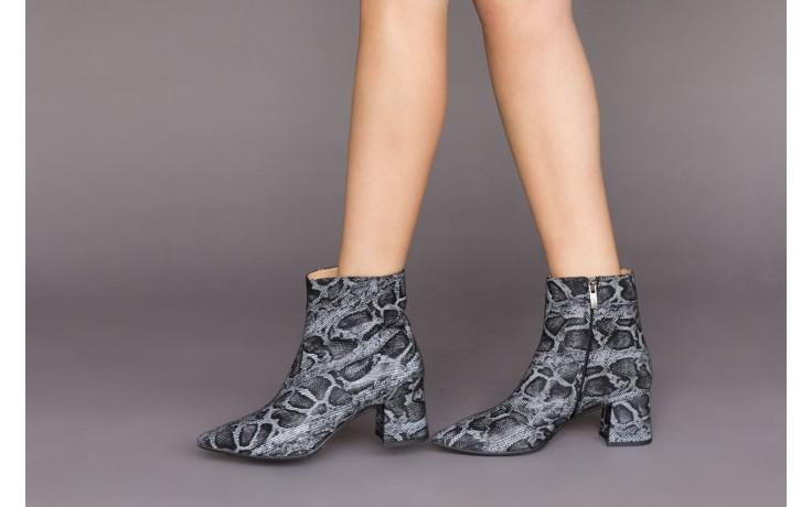 Botki bayla-188 006 jaszczurka szary, skóra naturalna - worker boots - trendy - kobieta 2