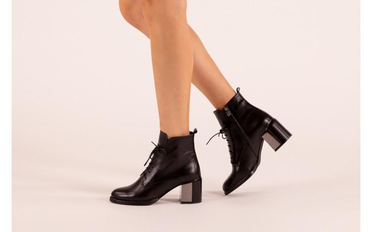 Botki bayla-195 20k-6508 black 195004, czarny, skóra naturalna  - sznurowane - botki - buty damskie - kobieta 2