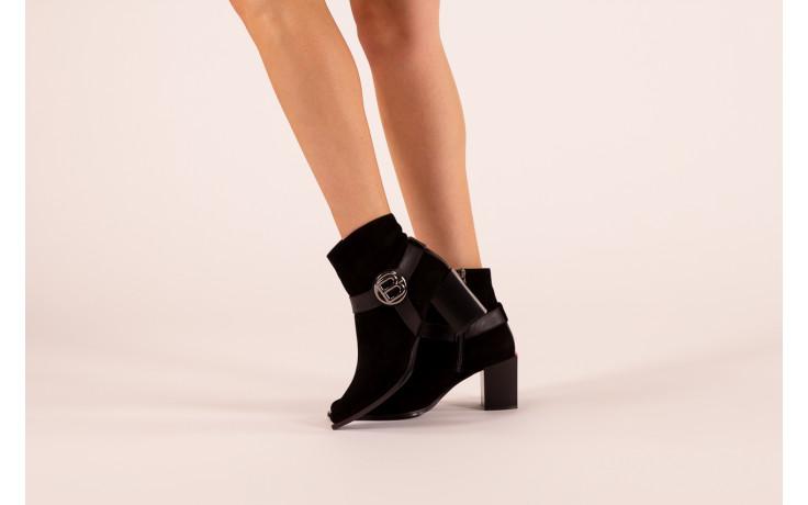 Botki bayla-195 20k-7202-1 black suede 195013, czarny, skóra naturalna  - skórzane - botki - buty damskie - kobieta 2