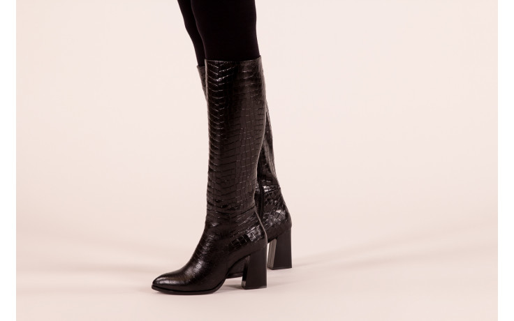 Kozaki bayla-195 20k-7004 black croco 195010, czarny, skóra naturalna  - kozaki - buty damskie - kobieta 2