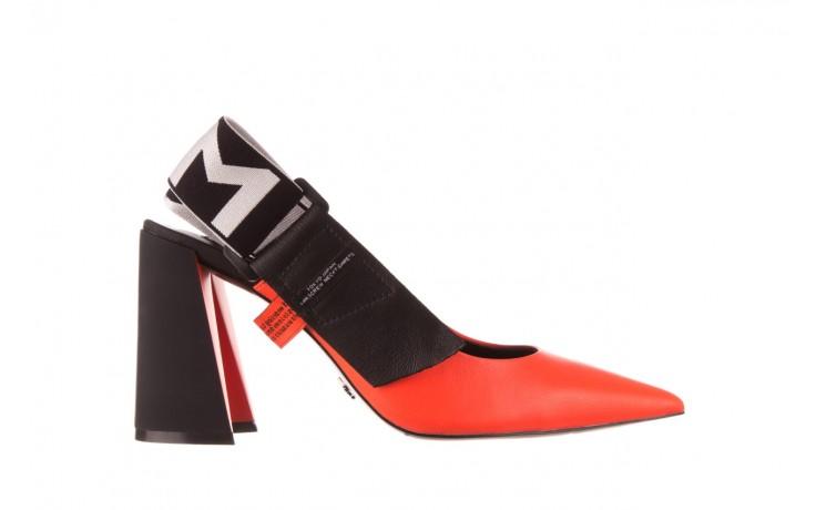 Czółenka sca'viola e-44 orange, pomarańczowy/ czarny, skóra naturalna - na słupku - czółenka - buty damskie - kobieta