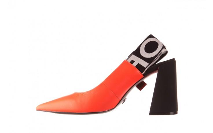 Czółenka sca'viola e-44 orange, pomarańczowy/ czarny, skóra naturalna - na słupku - czółenka - buty damskie - kobieta 2