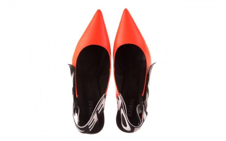 Czółenka sca'viola e-44 orange, pomarańczowy/ czarny, skóra naturalna - na słupku - czółenka - buty damskie - kobieta 4