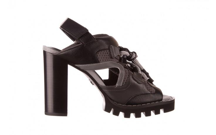 Sandały sca'viola e-34 d. grey-black, szary/ czarny, skóra naturalna  - na obcasie - sandały - buty damskie - kobieta