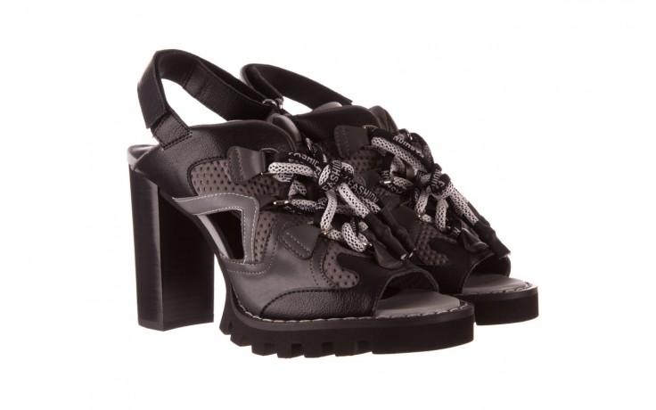 Sandały sca'viola e-34 d. grey-black, szary/ czarny, skóra naturalna  - na obcasie - sandały - buty damskie - kobieta 1