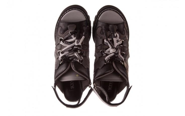 Sandały sca'viola e-34 d. grey-black, szary/ czarny, skóra naturalna  - na obcasie - sandały - buty damskie - kobieta 4