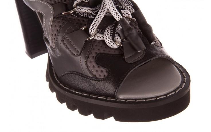Sandały sca'viola e-34 d. grey-black, szary/ czarny, skóra naturalna  - na obcasie - sandały - buty damskie - kobieta 5