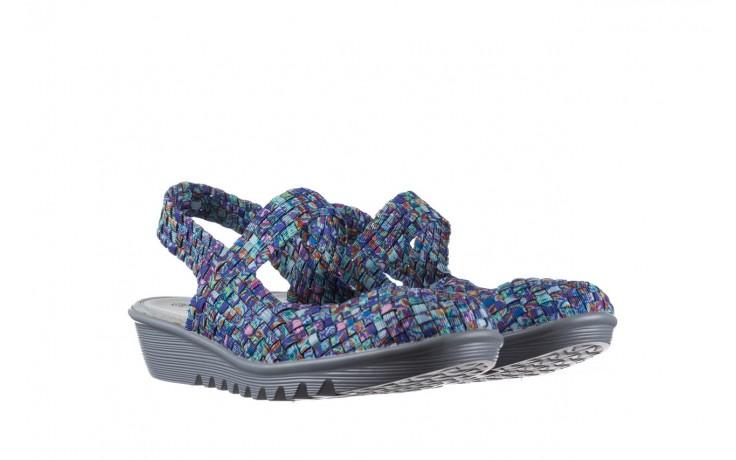 Sandały rock sheila blue orange smoke, niebieski, materiał - na koturnie - sandały - buty damskie - kobieta 1