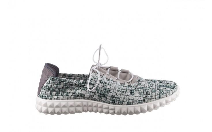 Półbuty rock noam white green points smoke, zielony/ biały, materiał  - sznurowane - półbuty - buty damskie - kobieta