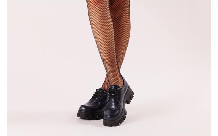 Półbuty bayla-196 20ef126-10 d57 laci-kr24 196023, granat, skóra naturalna  - sznurowane - półbuty - buty damskie - kobieta 2