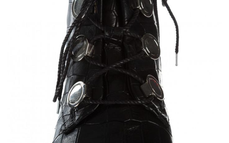 Trzewiki bayla 161 050 7263 3085 black croco 161178, czarny, skóra naturalna  - kobieta 7