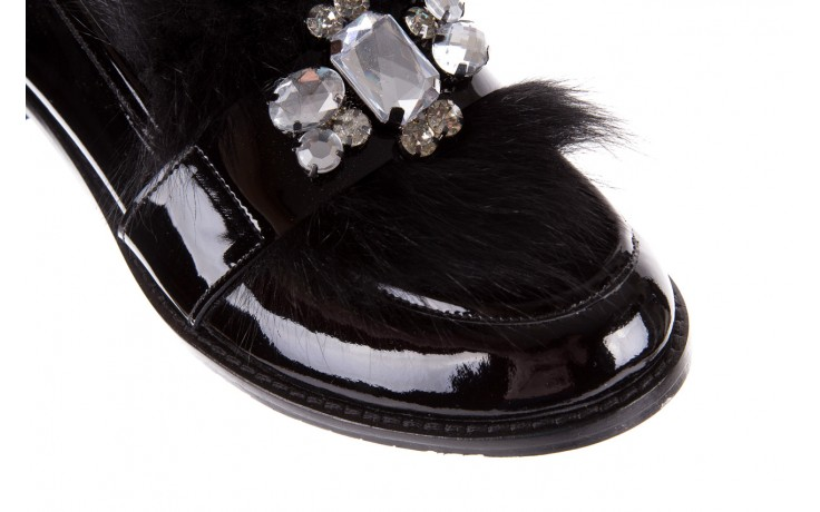 Półbuty bayla-176 8607 czarne mokasyny z futrem, skóra naturalna  - bayla - nasze marki 6