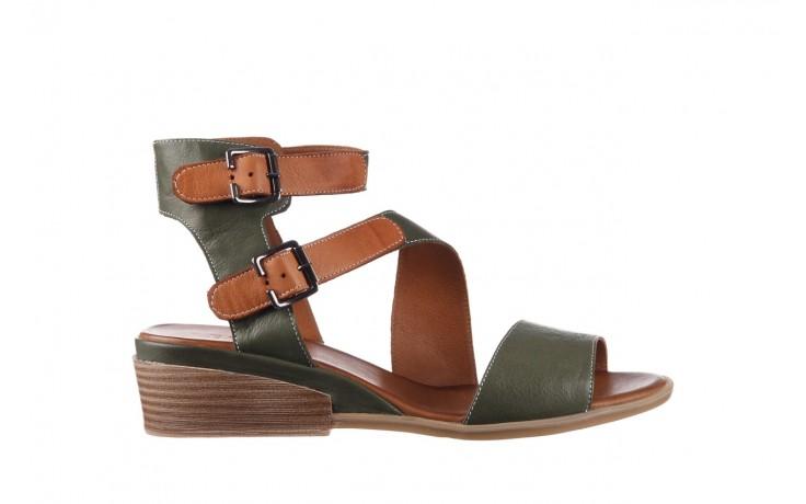 Sandały bayla-161 061 1605 dark olive tan, zielony, skóra naturalna - koturny - buty damskie - kobieta