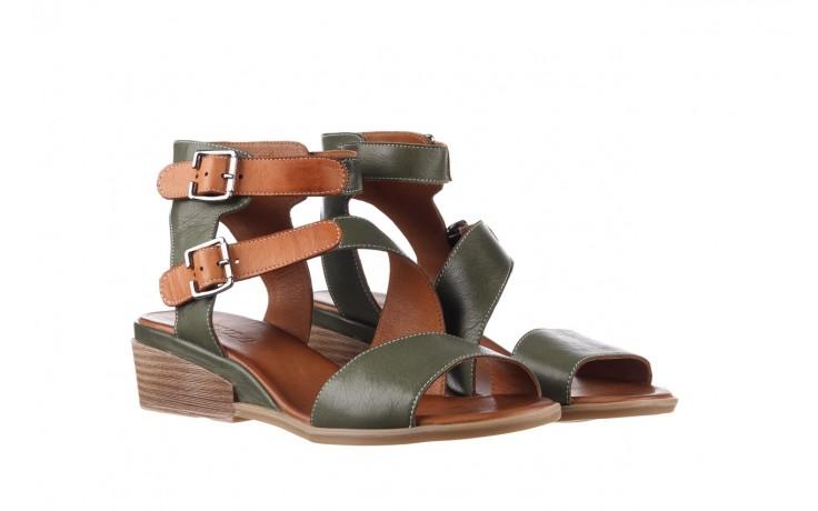 Sandały bayla-161 061 1605 dark olive tan, zielony, skóra naturalna - koturny - buty damskie - kobieta 1
