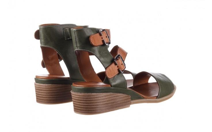 Sandały bayla-161 061 1605 dark olive tan, zielony, skóra naturalna - koturny - buty damskie - kobieta 3