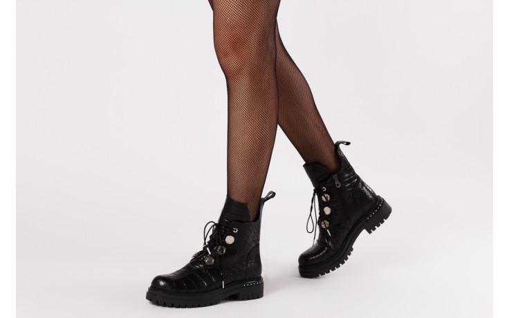 Trzewiki bayla 161 050 7263 3085 black croco 161178, czarny, skóra naturalna  - kobieta 2
