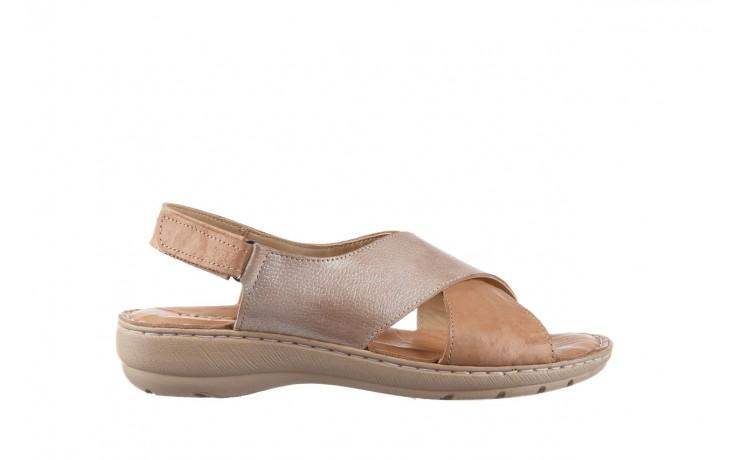 Sandały bayla-161 016 740 beige beige print, beż, skóra naturalna - płaskie - sandały - buty damskie - kobieta