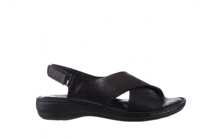 Sandały bayla-161 016 740 black black print, czarny, skóra naturalna - płaskie - sandały - buty damskie - kobieta