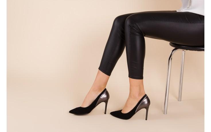 Szpilki bayla-097 17 czarne szpilki, skóra naturalna  - zamszowe - szpilki - buty damskie - kobieta 2