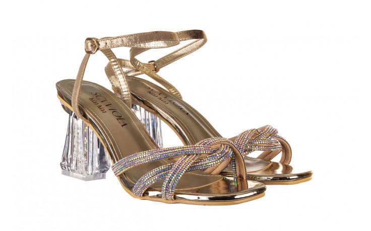 Sandały sca'viola g-66 gold 047177, złoty, skóra naturalna  - na obcasie - sandały - buty damskie - kobieta 1