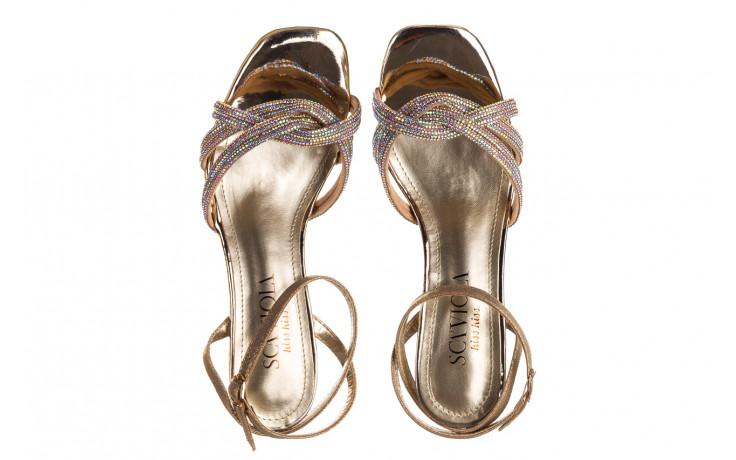 Sandały sca'viola g-66 gold 047177, złoty, skóra naturalna  - na obcasie - sandały - buty damskie - kobieta 4