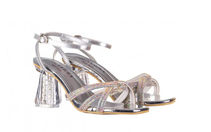 Sandały sca'viola g-66 silver 047178, srebro, skóra naturalna  - na obcasie - sandały - buty damskie - kobieta 1