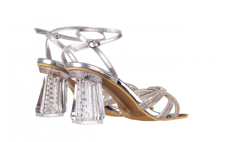 Sandały sca'viola g-66 silver 047178, srebro, skóra naturalna  - na obcasie - sandały - buty damskie - kobieta 3