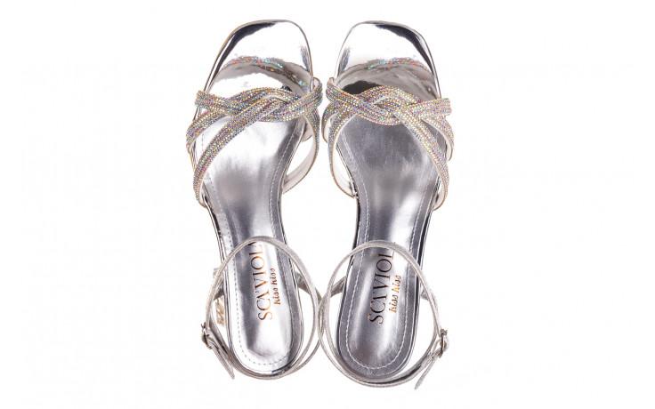 Sandały sca'viola g-66 silver 047178, srebro, skóra naturalna  - na obcasie - sandały - buty damskie - kobieta 4