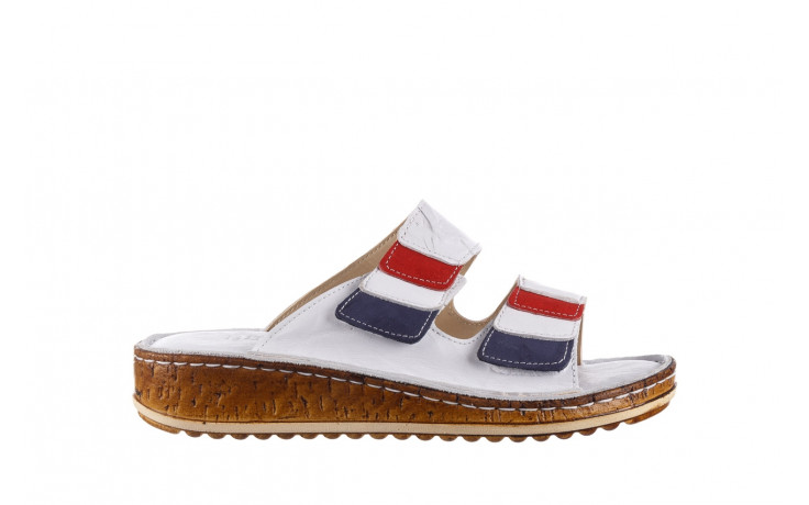 Klapki bayla-161 016 109 tommy 21 161187, biały, skóra naturalna  - klapki - buty damskie - kobieta