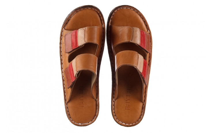 Klapki bayla-161 016 109 tan brown taupe 21 161186, brąz, skóra naturalna  - klapki - buty damskie - kobieta 4