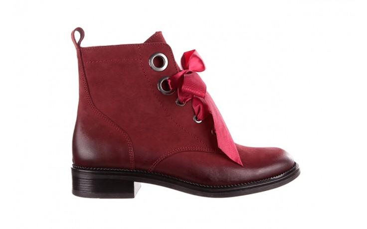 Trzewiki bayla-100 1002 bordowe ze wstążką, skóra naturalna - trzewiki - buty damskie - kobieta