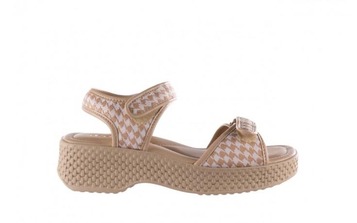 Sandały azaleia 321 293 beige plaid, beż/ biały, materiał - azaleia - nasze marki