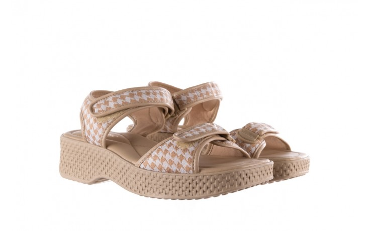 Sandały azaleia 321 293 beige plaid, beż/ biały, materiał - azaleia - nasze marki 1