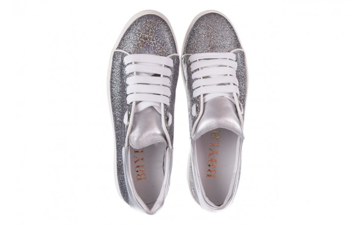 Trampki bayla-185 185 102 srebrny, skóra naturalna  - skórzane - trampki - buty damskie - kobieta 4