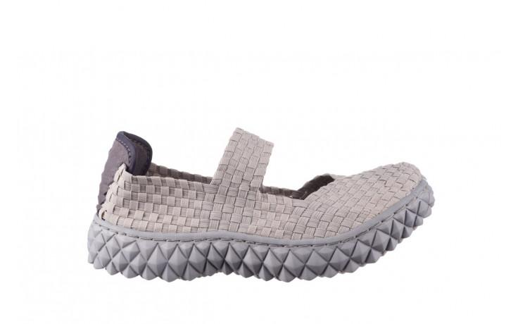Półbuty rock over lt grey 21 032857, szary, materiał - wsuwane - półbuty - buty damskie - kobieta