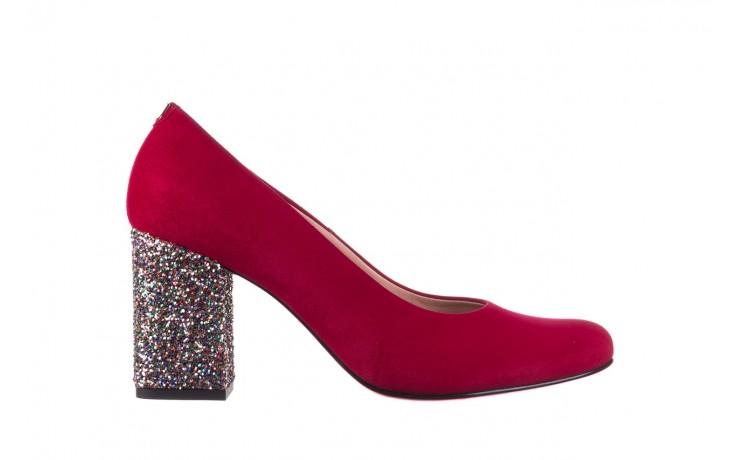 Czółenka bayla-056 7063-1432 bordo glitter, skóra naturalna  - do szpica - szpilki - buty damskie - kobieta