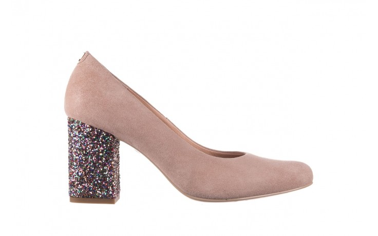Czółenka bayla-056 7063-140 beż glitter, skóra naturalna  - zamszowe - szpilki - buty damskie - kobieta