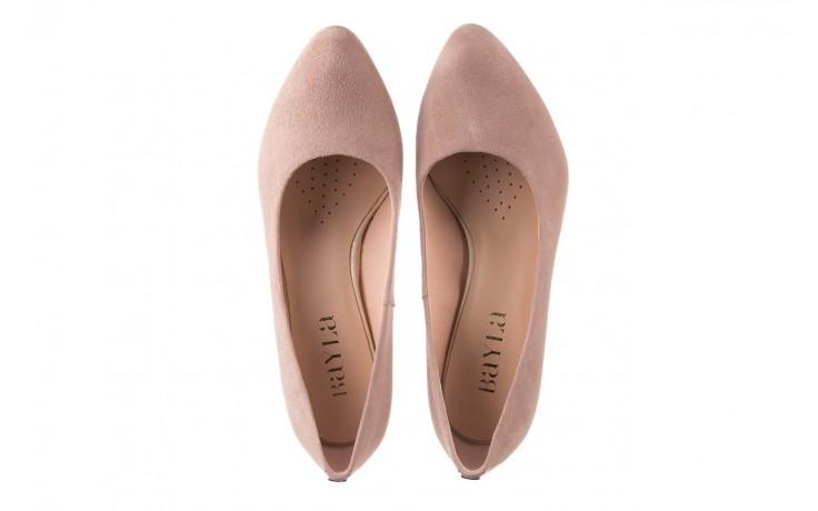 Czółenka bayla-056 7063-140 beż glitter, skóra naturalna  - zamszowe - szpilki - buty damskie - kobieta 4