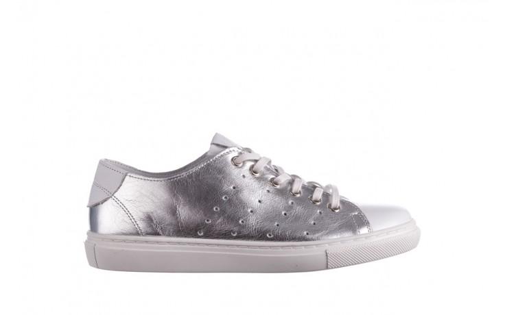 Trampki bayla-161 093 90135 srebrny biały 161048, skóra naturalna  - trampki - buty damskie - kobieta